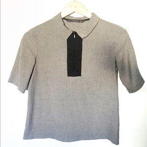Zara Trafuluc Houndstooth Front Zip Collar Top